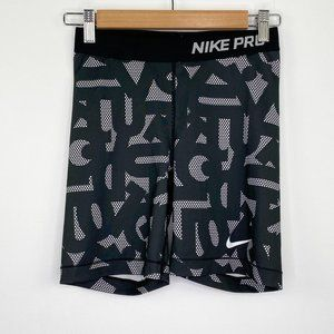 Nike Pro Black White Printed Compression Shorts S